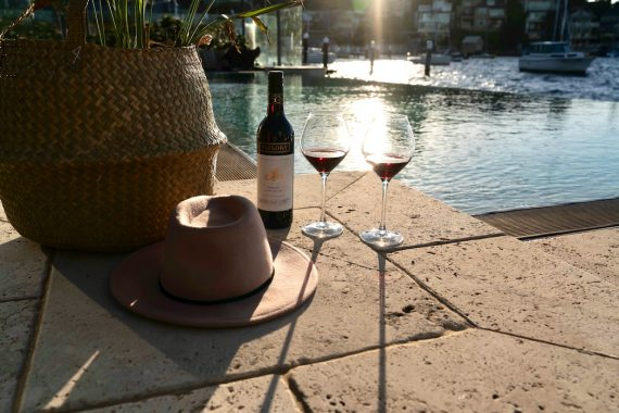 Taylors Summer House Of Shiraz - Campaign - 36 hat and wine by the pool
