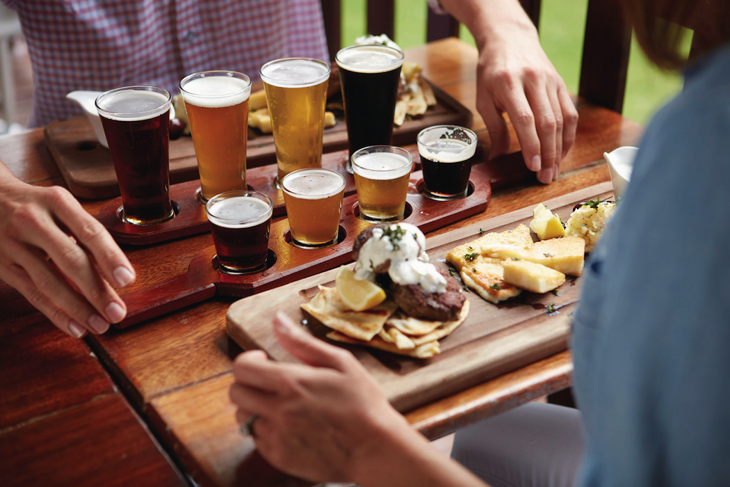Granite Belt Brewery Stanthorpe craft beer The Brewers Platter matches four dishes with craft beers and cider. Photo: Tourism and Events Queensland.