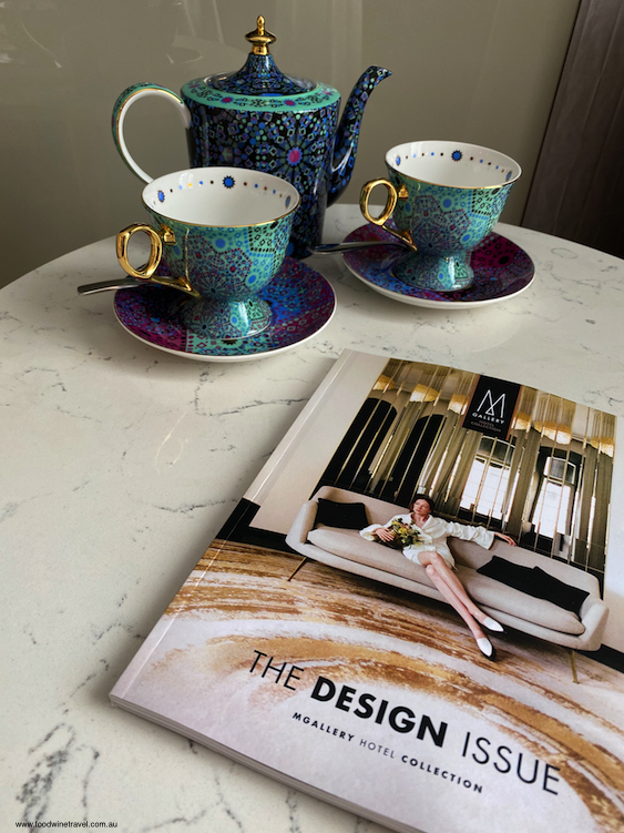 Hotel Grand Windsor Auckland Tea Cups and Magazine