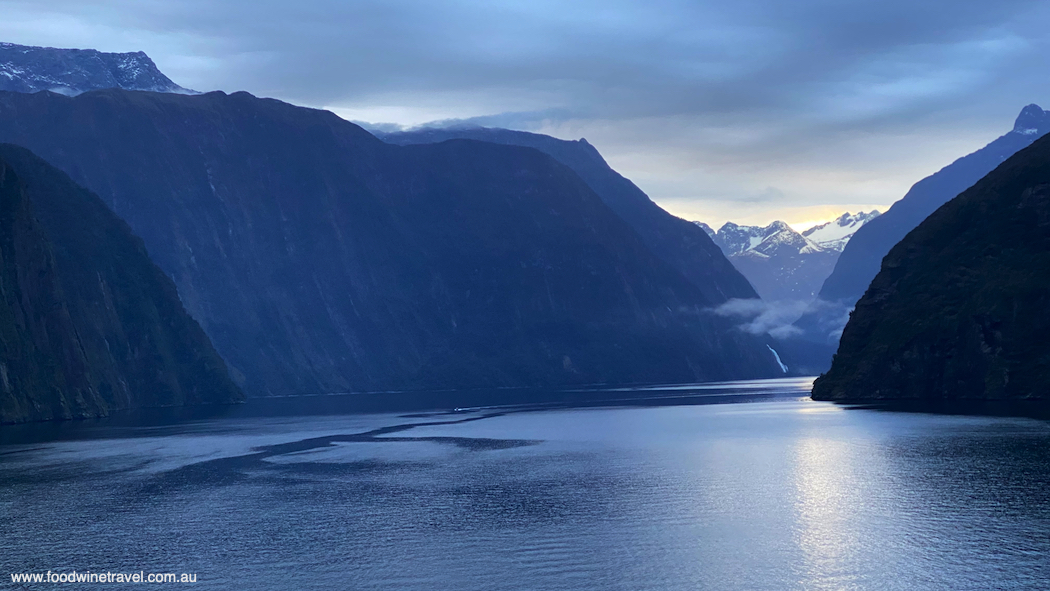 Milford Sound, viewed early in the morning from on board Explorer Dream.