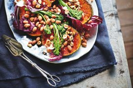 Honey-Roasted Pumpkin, Borlotti Bean, Broccolini And Hazelnut Salad, from The Anti-Inflammatory Cookbook.