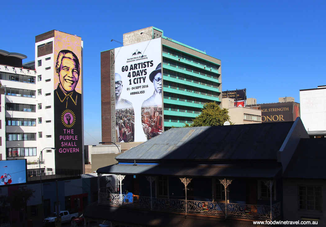 The Purple Shall Govern Mural Braamfontein Johannesburg sites associated with Nelson Mandela