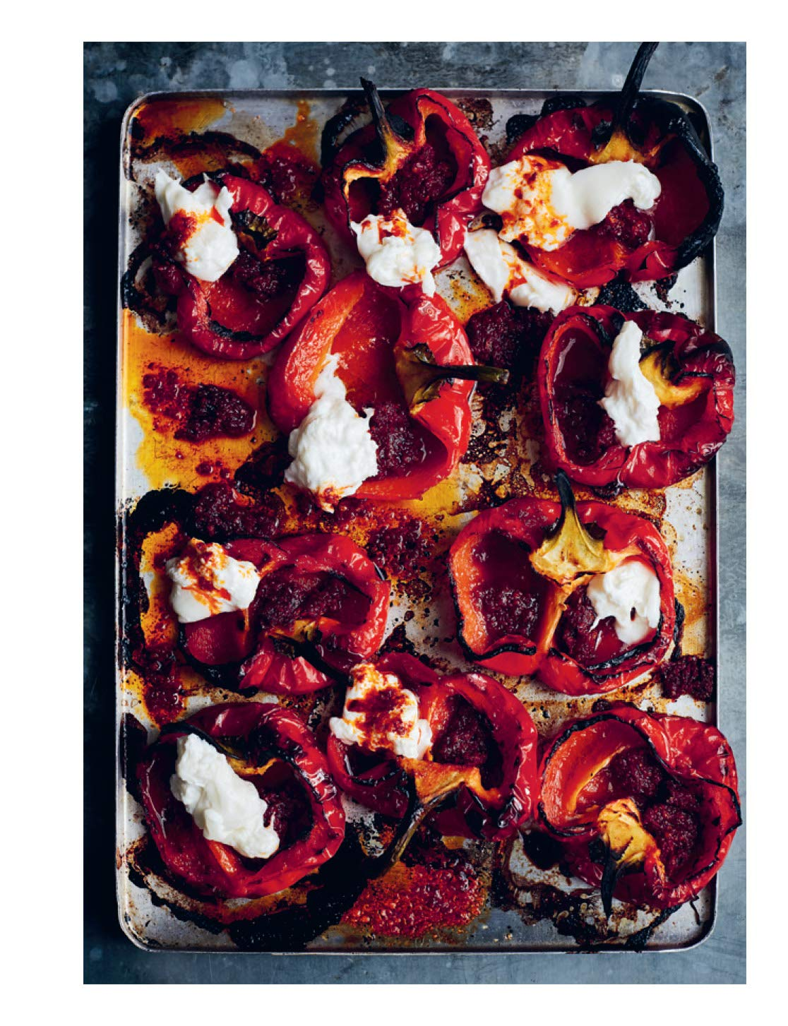 Roast Peppers With Burrata and 'Nduja, from Diana Henry's book, From The Oven To The Table.