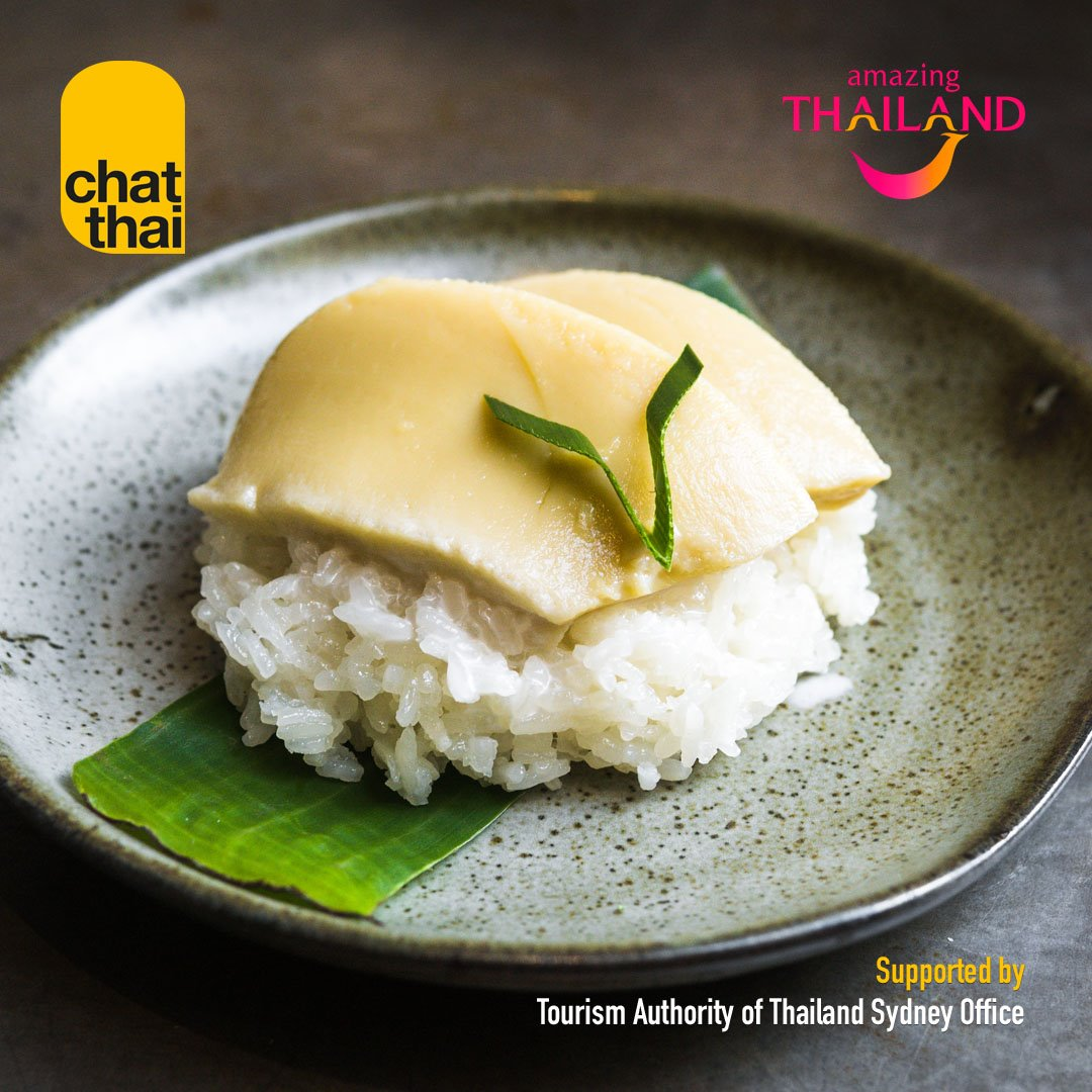 Chat Thai's Khao Nieaw Sangkaya (Steamed sticky rice with sweet coconut cream).