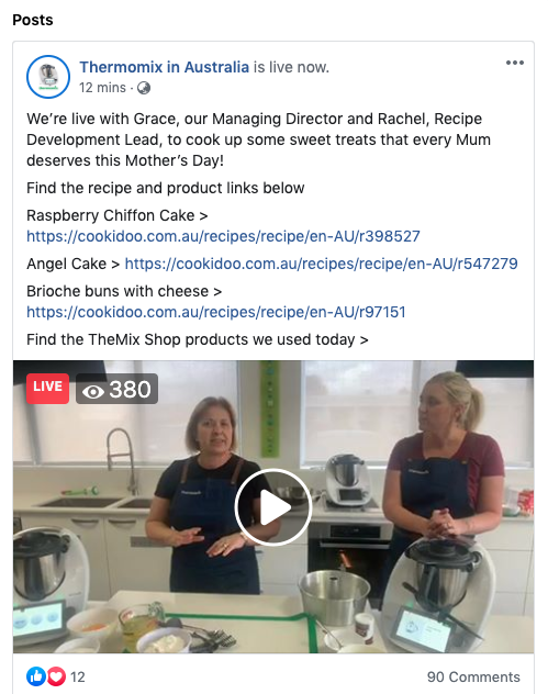 Thermomix in Australia Facebook page live-streamed videos