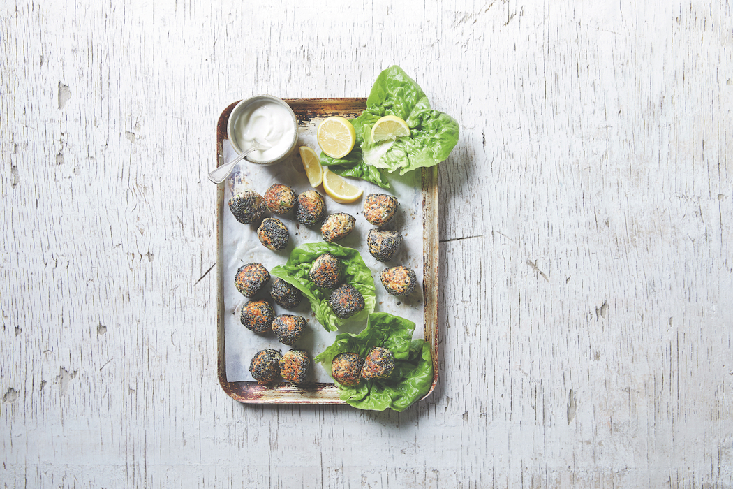 Recipe for Chicken & Chia Meatballs, from Snack Power, by Tiffany Hall.