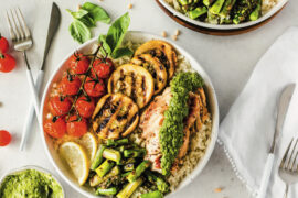 Recipe for Basil Pesto Chicken Power Bowls, from Clean Paleo.