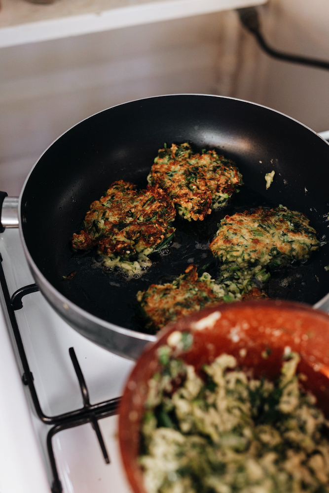 Recipe from Haloumi and Zucchini Fritters, from The Shared Table, by Clare Scrine.