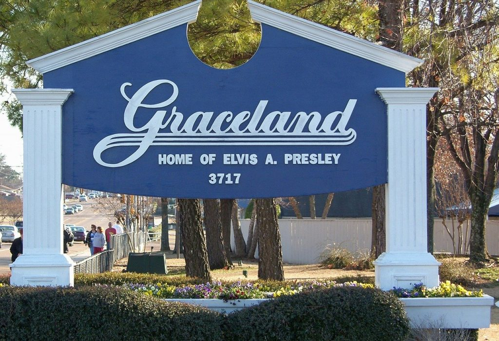 Graceland, Elvis Presley's home and burial place in Memphis, USA.