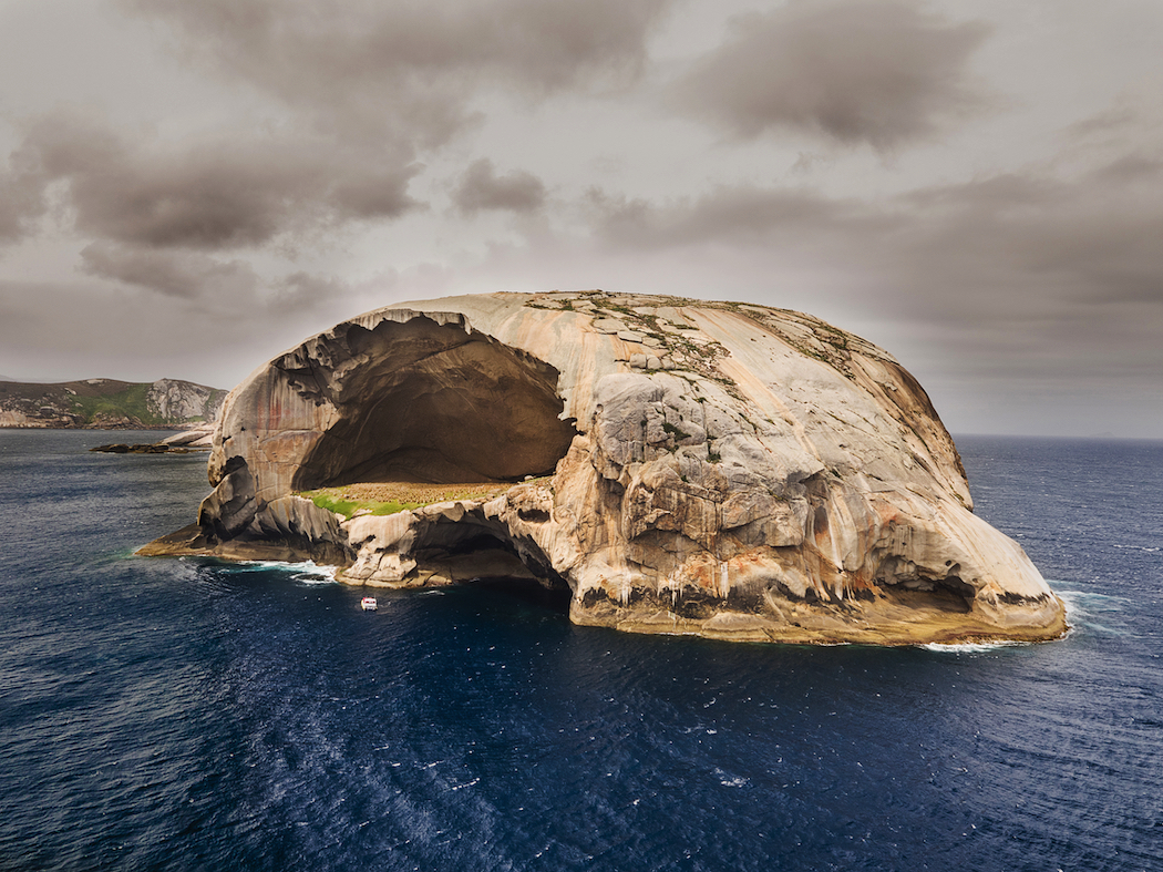 Skull Rock, one of the awesome sights you'll see on a boat cruise with Pennicott Wilderness Journeys.