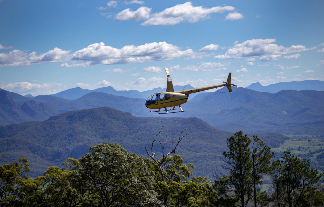 Enjoy a scenic flight over Queensland's Scenic Rim with Pterodactyl Helicopters.
