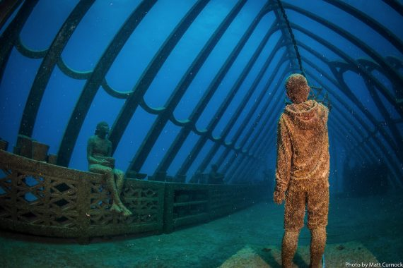 Museum of Underwater Art, Great Barrier Reef, Coral Greenhouse is the first underwater building by sculptor Jason deCaires Taylor.