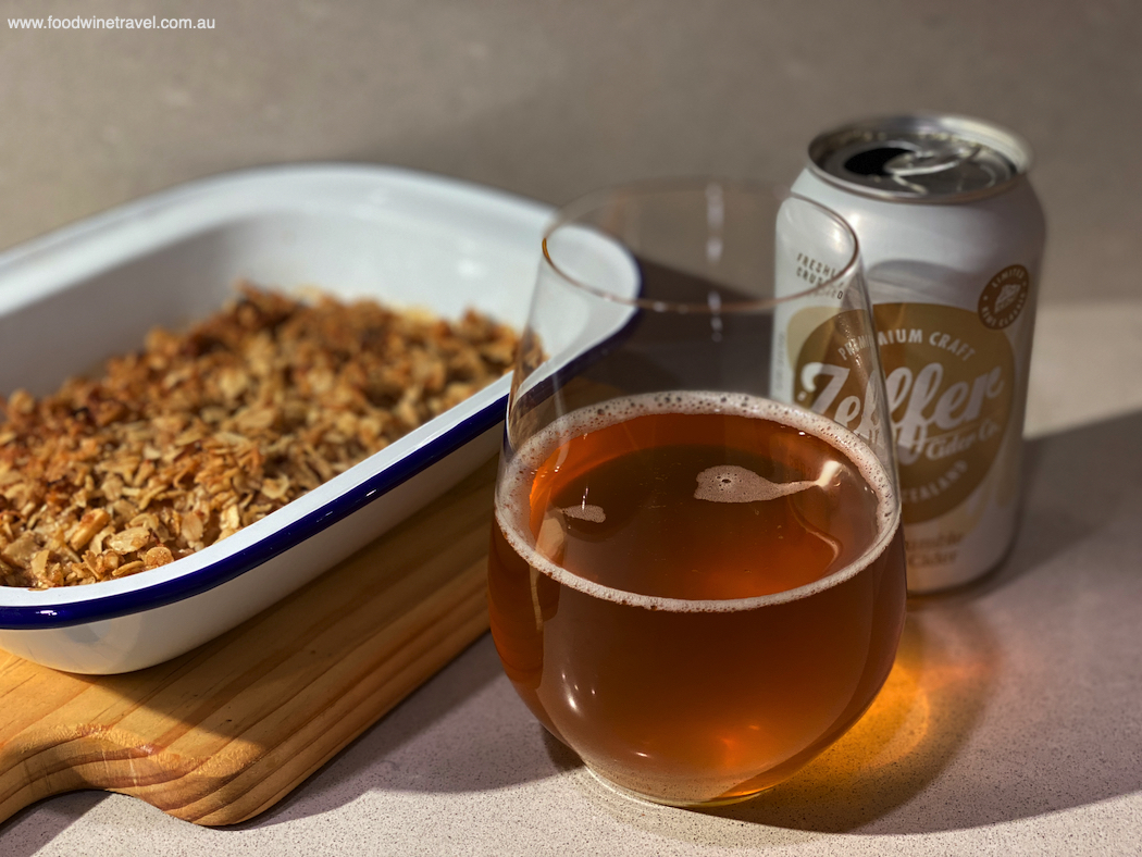 The apple crumble infused cider is a delicious match for this apple crumble recipe.