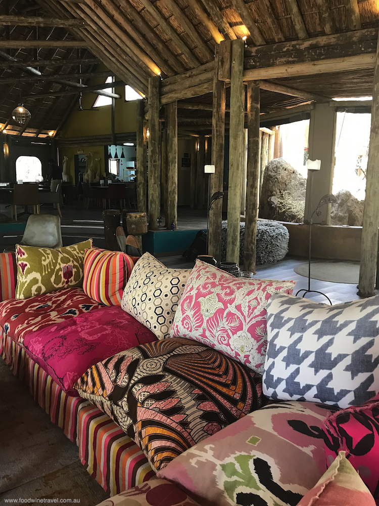 The main lodge at Jaci's Safari Lodge is vibrant and colourful and super-comfy.