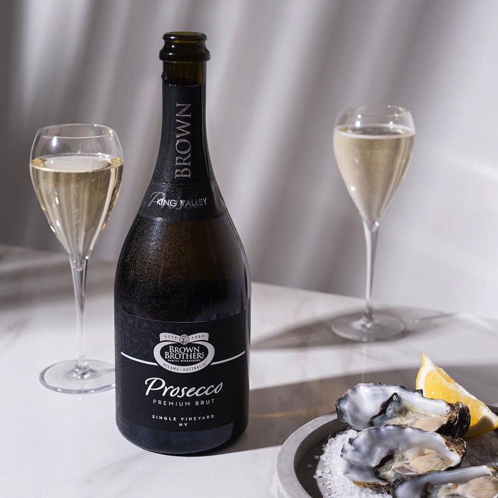 Brown Brothers NV Prosecco Premium Brut is a good match for oysters and seafood dishes.
