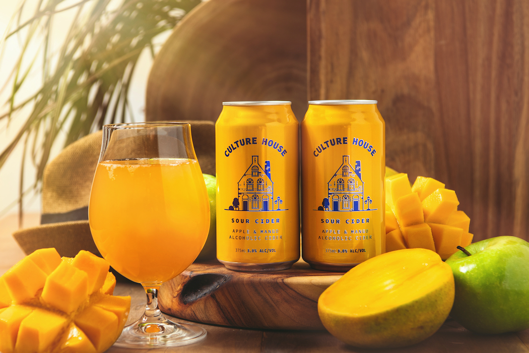 Culture House Sour Cider infuses apples with mangoes for zingy appeal.