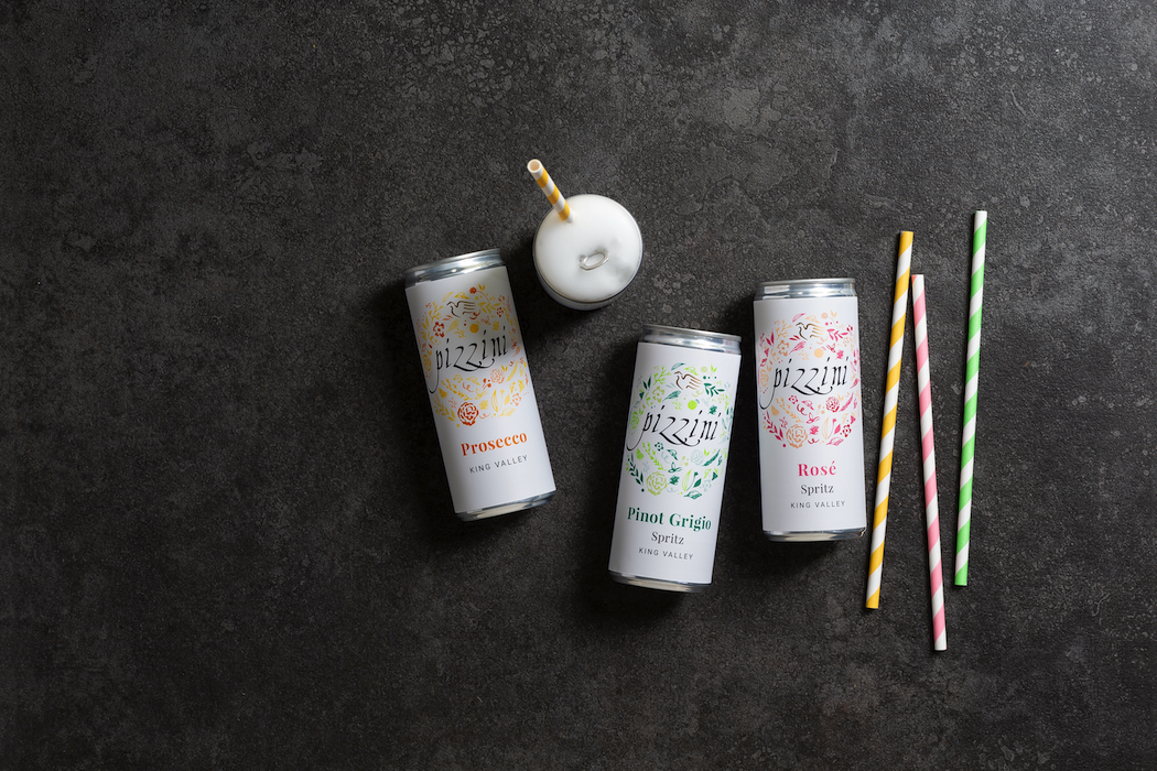 The three new lightly sparkling canned wines from Pizzini.