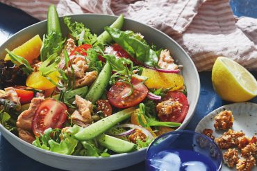 Recipe for Salmon and Orange Salad with Caramelised Walnuts, from The Heart Health Guide.