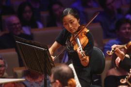 Queensland Symphony Orchestra Co-Concertmaster Natsuko Yoshimoto performing Scheherazade. Photographer: Peter Wallis.