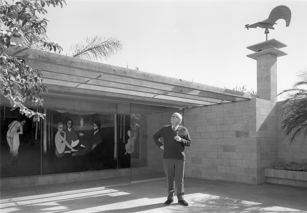 Brian Johnstone standing in the Johnstone Gallery courtyard, Bowen Hills, Queensland, ca. 1971. Arthur Davenport Photographs 1955–1992, 27642/1253, John Oxley Library, State Library of Queensland.