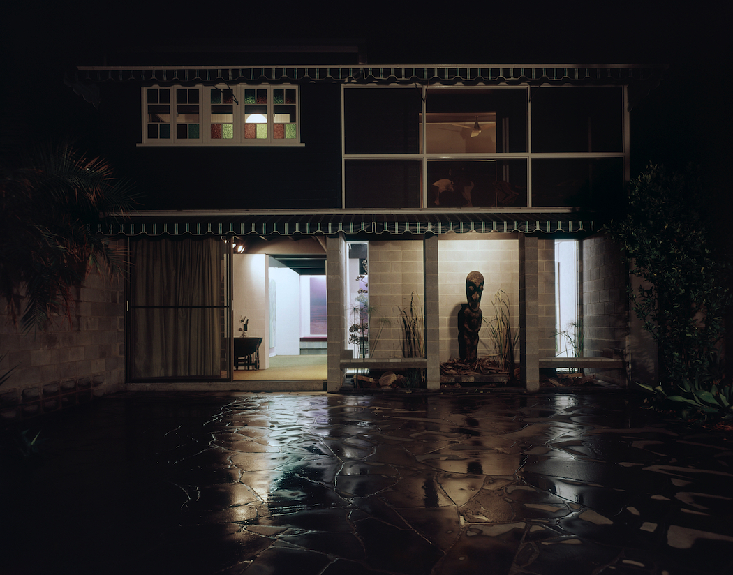 Johnstone Gallery courtyard at night, Cintra Road, Bowen Hills, ca. 1970. Arthur Davenport Photographs 1955–1992, 27642/1185, John Oxley Library, State Library of Queensland.