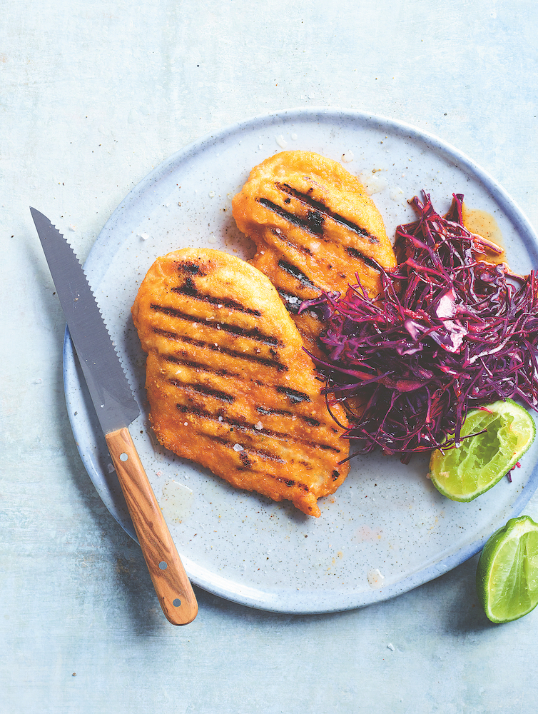 Cheat's schnitty, done on a barbecue grill, from Barbecue This!