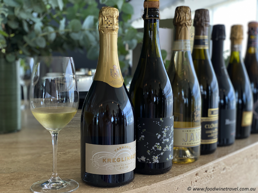The lunch featured one wine from each of the top Tasmanian estates. Tasmania's sparkling wine