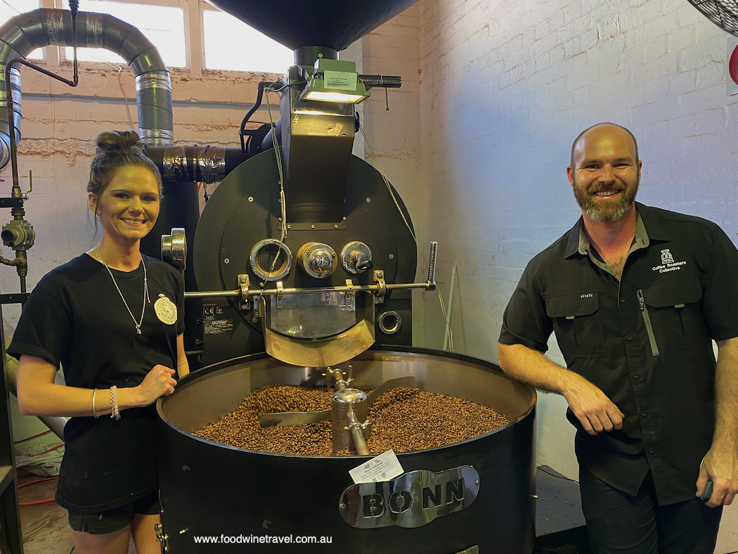 Dancing Bean cafe owner Tanaya and Coffee Roasters Collective GM Carston.