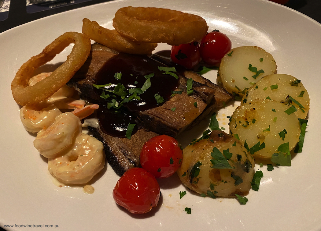 Flavours of Ipswich The Prince Alfred's Classic Surf & Turf on the menu for Flavours.