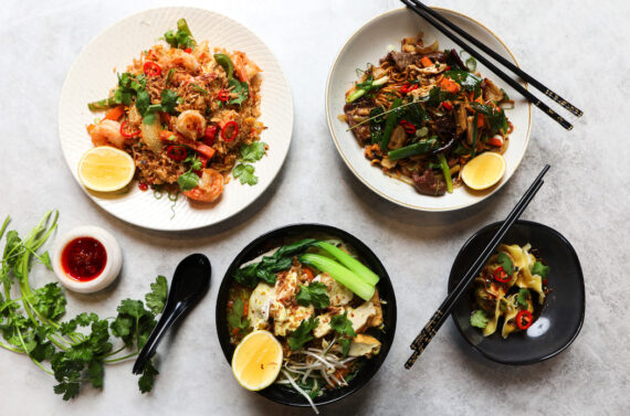 Four delicious (and sustainable) dishes created by Diana Chan for P'Nut Street Noodles.