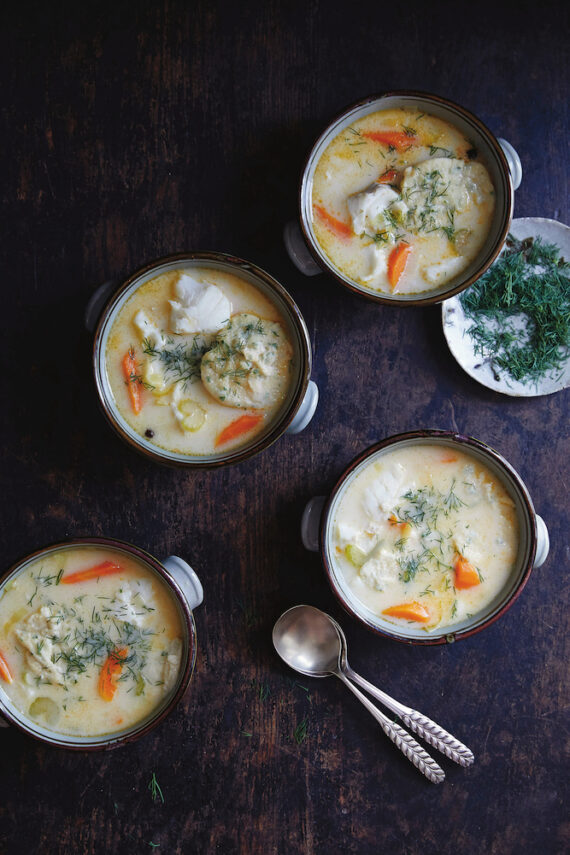 Creamy Fish Soup with Parsley Dumplings, from Amber & Rye: A Baltic Food Journey.