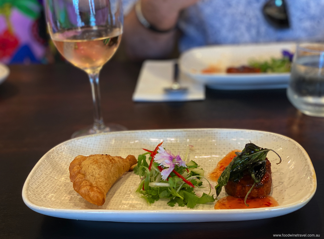 Chicken curry puff and snapper fish cake for starters at Chim Thai.